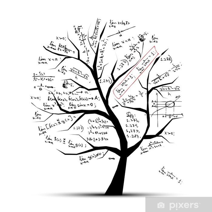 Carta da Parati in Vinile Albero di matematica per il vostro disegno - Adesivo da parete