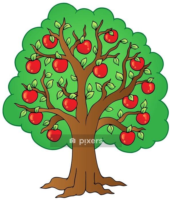 cartoon apple tree wall decal • pixers® • we live to change