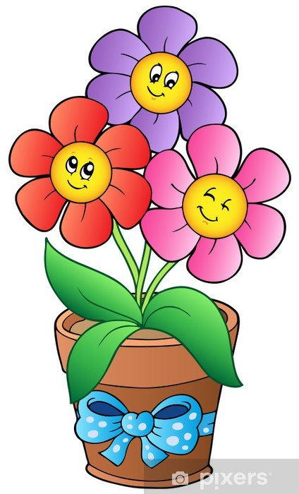 Pot with three cartoon flowers Sticker - Pixerstick