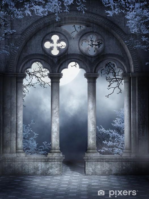 Ruiny gotyckiego okna z niebieskim bluszczem Pixerstick Sticker - Themes