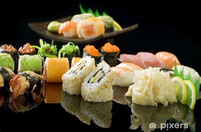 Papier peint vinyle Sushi sur Noir - Sushi