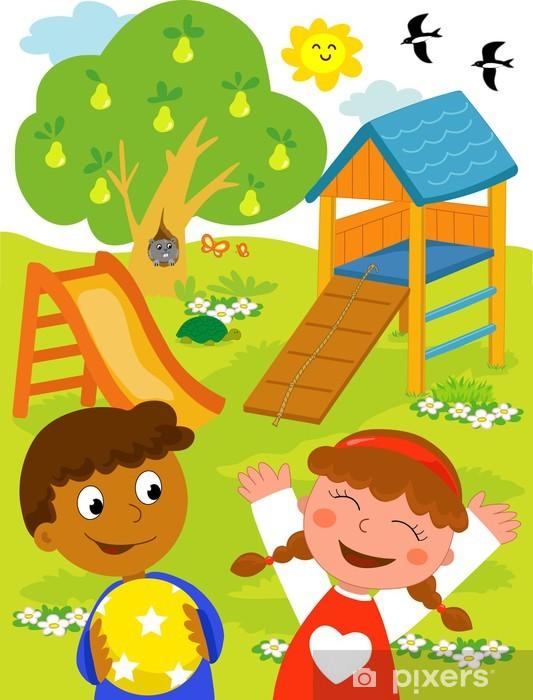 Nálepka Pixerstick Black dítě a šťastný kavkazský dítě v parku - Etika