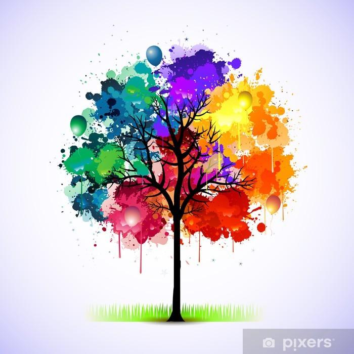 Plakat Kolorowe abstrakcyjne drzewa w tle - Style