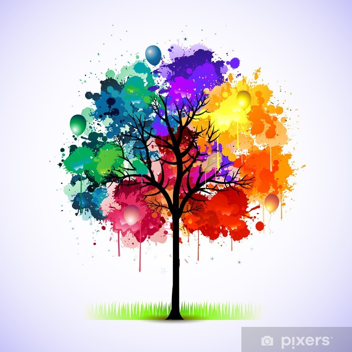 Sticker Pixerstick Colorful abstrait arbre - Styles
