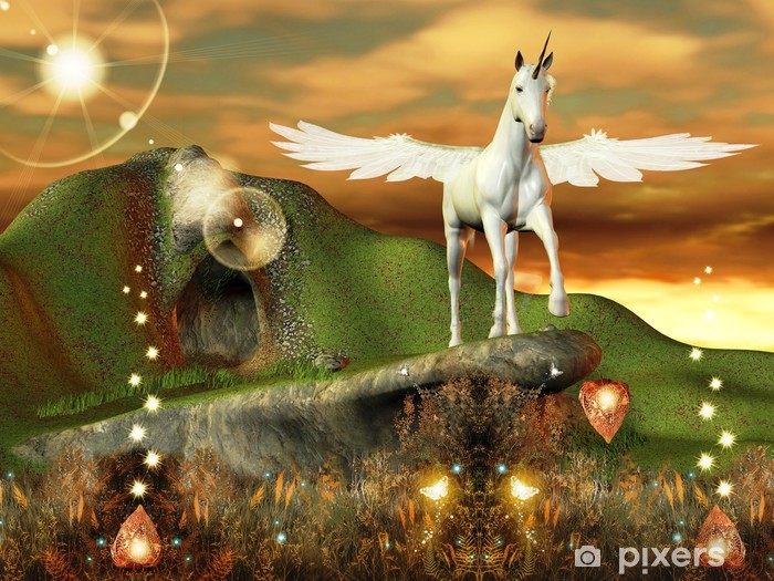 Naklejka Pixerstick Fantastico pegaso in un mondo Magico - Tematy
