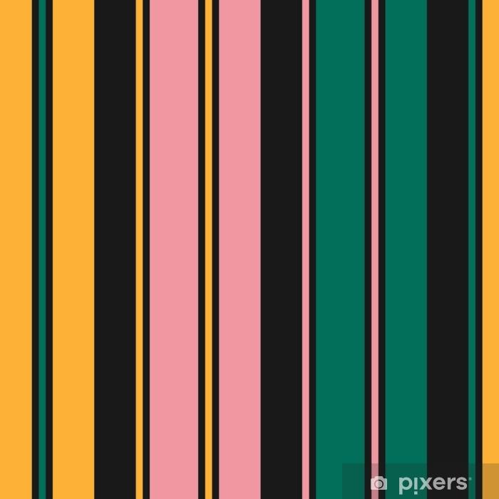 Vinilo Pixerstick Rayas de patrones sin fisuras Textura simple del vector con líneas verticales finas y gruesas. Fondo rayado geométrico abstracto moderno. color negro, verde, rosa y amarillo. Repita el diseño para decoración, tela - Recursos gráficos