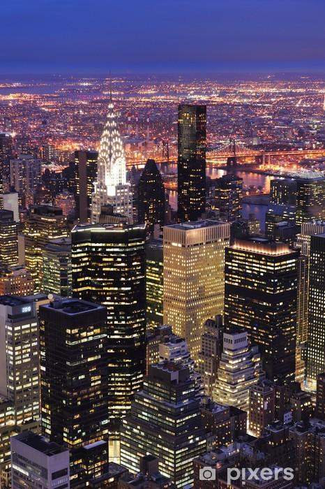 Vinilo para Nevera New York City Manhattan skyline vista aérea al atardecer -