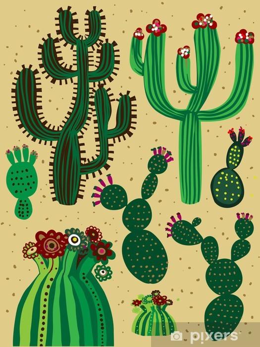 Zelfklevend Fotobehang Kleur cactus set - Andere Gevoelens