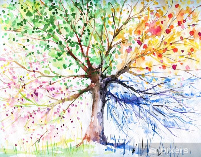 Carta da Parati in Vinile Quattro stagione albero -