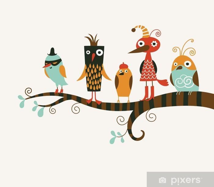 Vinilo para Nevera Cinco aves divertidos - Animales fantásticos