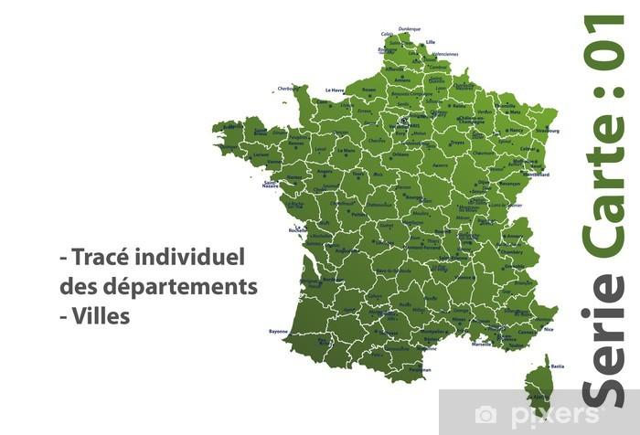 Papier peint vinyle Carte de France dep noms villes - Espace