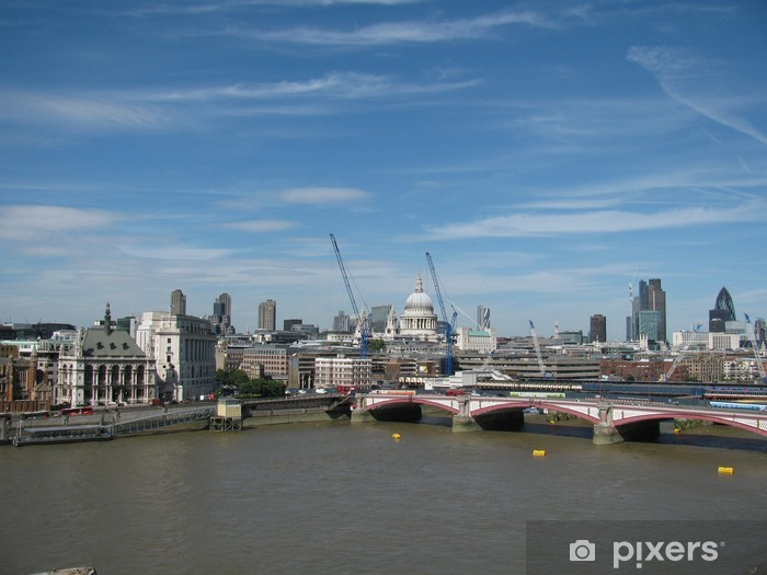 Carta da Parati in Vinile Vista dal London Eye alla Cattedrale di Oxo Tower e San Paolo - Città europee
