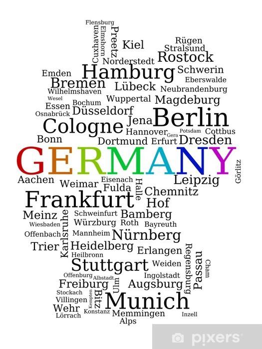 Papier peint vinyle Allemagne - noms de ville carte - Signes et symboles