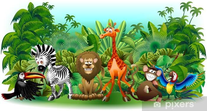 Animali Selvaggi Cartoon Giungla-Wild Animals Background-Vector Vinyl Wall Mural - Preschooler