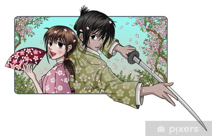 Adesivo Pixerstick Signora giapponese e fiero samurai - sfondo sakura - Coppia