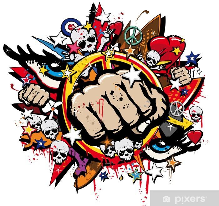 Fototapeta winylowa Graffiti Fist Freefight klub symbol pop art - Naklejki na ścianę