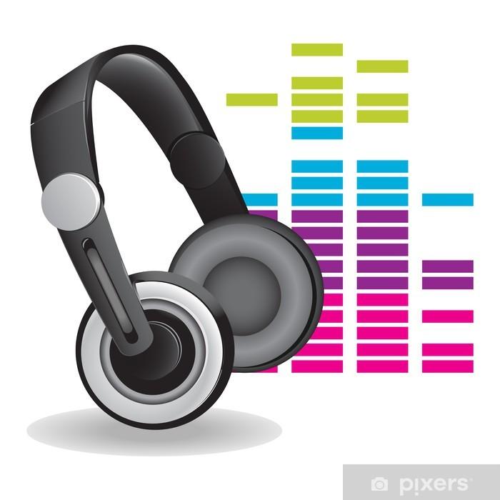 Vinyl Fotobehang Headphones - Muziek
