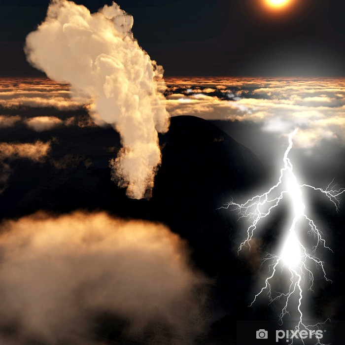 Papier peint vinyle Éruption volcanique avec des éclairs énormes - Ciel