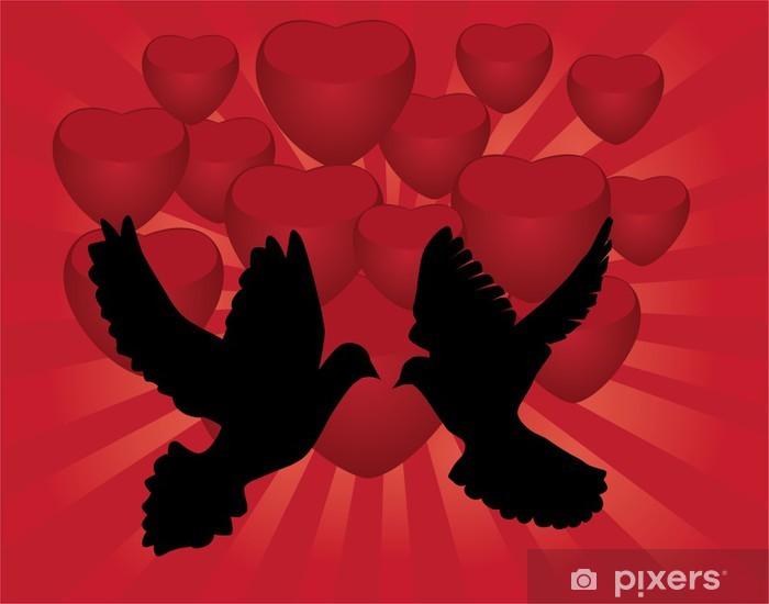 Papier peint vinyle Colombes vectoriels et coeurs rouges - Bonheur