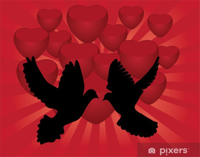 vector doves and red hearts Vinyl Wall Mural - Happiness