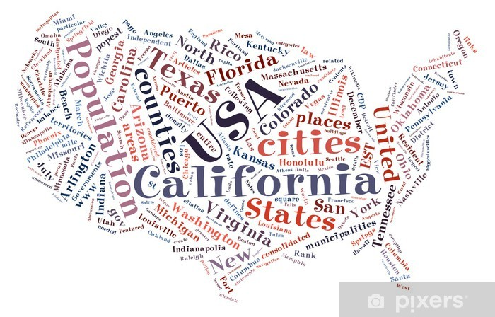 United States of America word collage map Pixerstick Sticker - American Cities