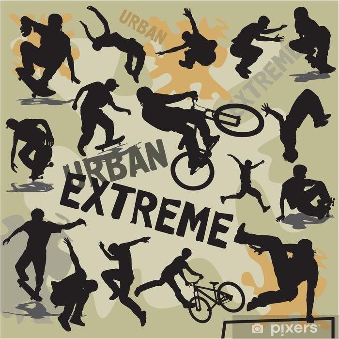 Carta da Parati in Vinile Impostare sagome di sport estremi urbani - Skateboard