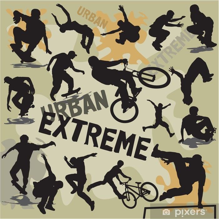 set silhouettes urban extreme sports Pixerstick Sticker - Skateboarding