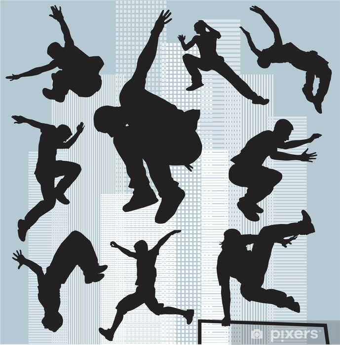 set vector silhouettes parkour Vinyl Wall Mural - Other Feelings