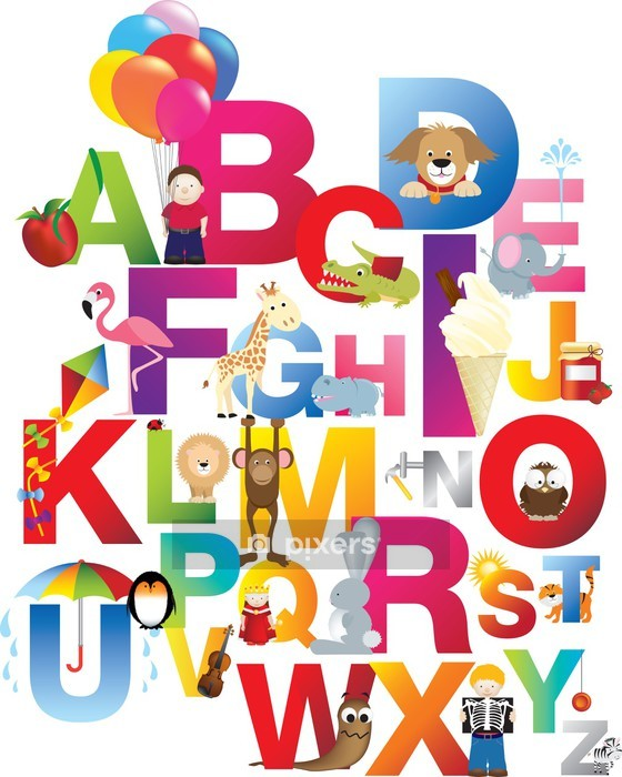 illustration of childrens alphabet Wall Decal - Themes