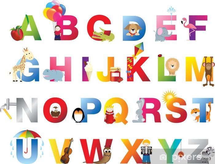 Vinilo Pixerstick Niños alfabeto completo - Temas