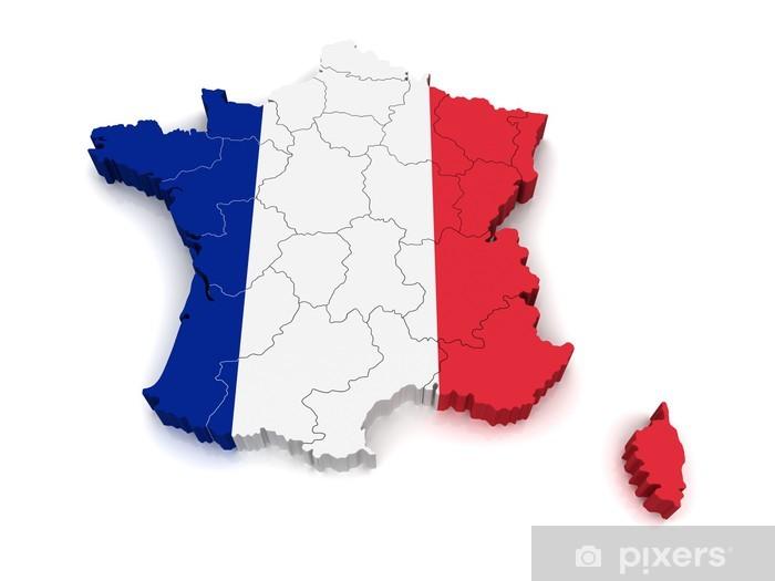 Papier peint vinyle Carte 3D de la France - Espace