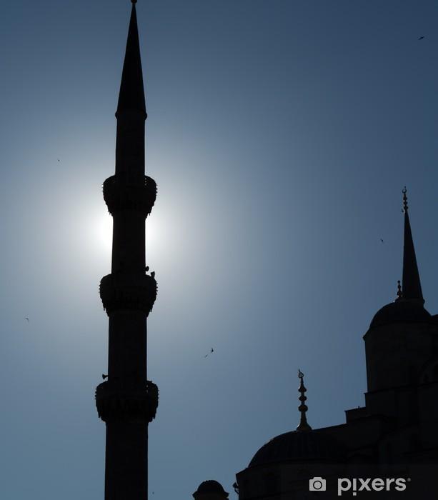 Naklejka Pixerstick Błękitny Meczet, światła i sylwetki - Czas
