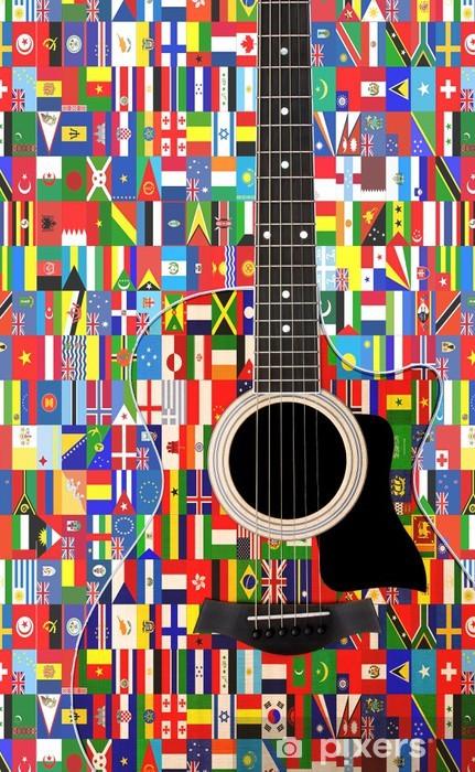 Nálepka Pixerstick Světové vlajky na akustickou kytaru - Témata