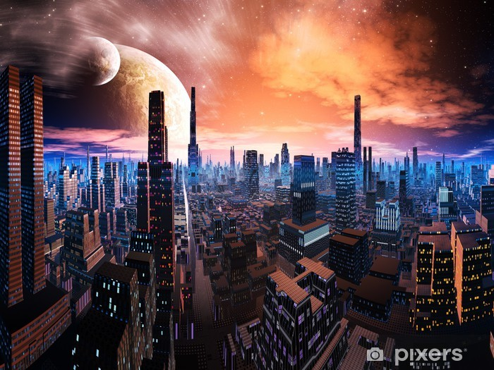 Neon Lit Cityscape on Distant World Pixerstick Sticker - Outer Space