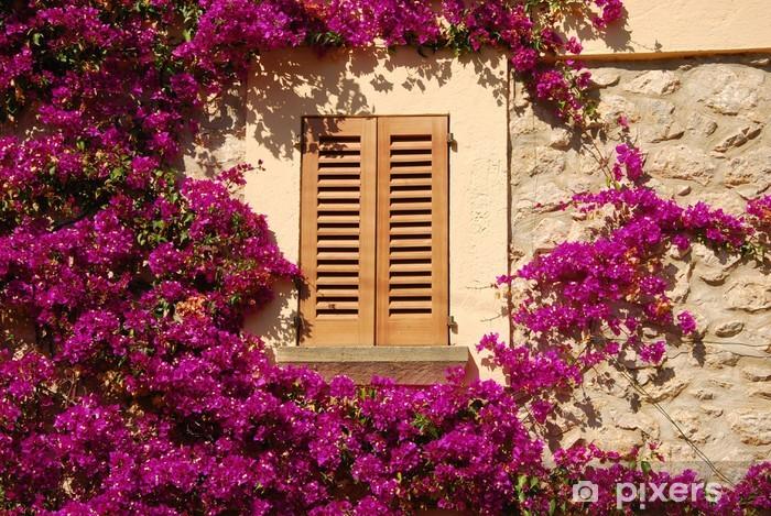 Nálepka Pixerstick Okno s květinami rám - Domov a zahrada