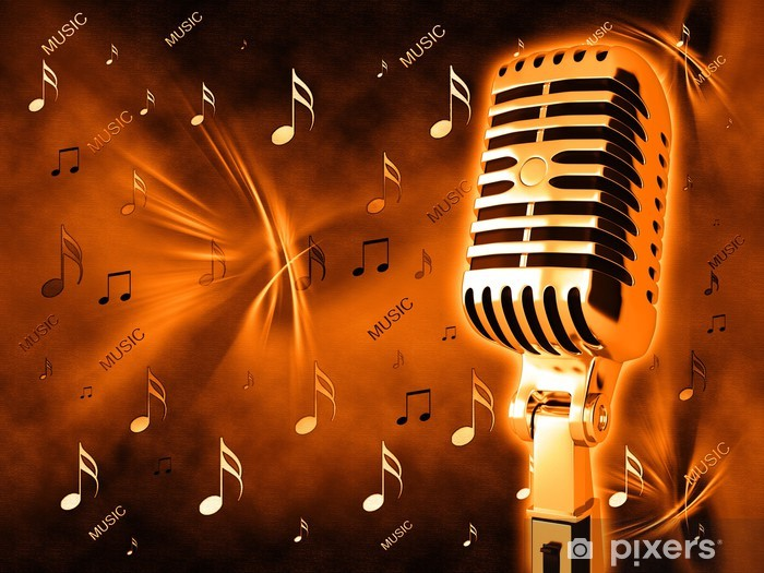 Microphone On Abstract Musical Background Wall Mural