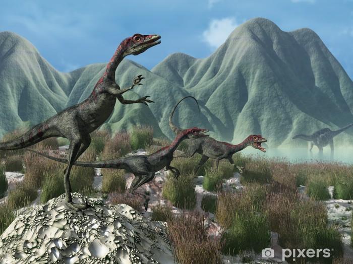 Fotomural Estándar Escena prehistórica con los dinosaurios Compsognathus - Temas
