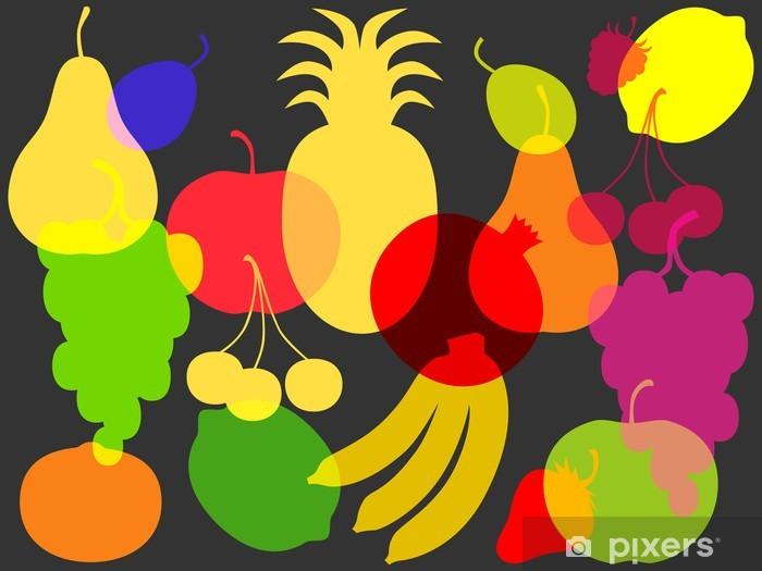 Fototapeta winylowa Wzór kolorowych sylwetek owoców i jagód - Owoce
