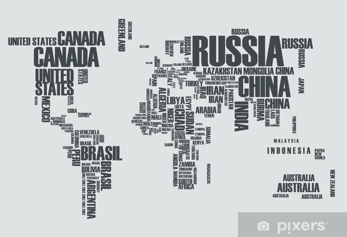Vinyl Fotobehang Wereldkaart: de contouren van het land bestaat uit de woorden - Tienerkamer (jongen)