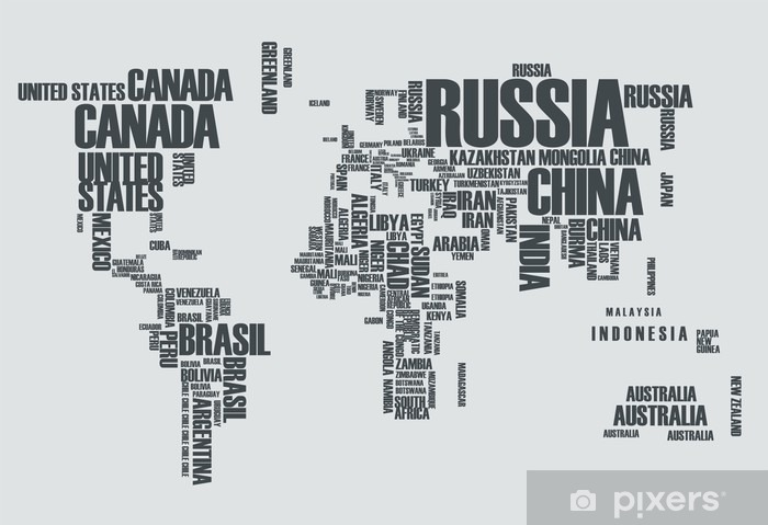 Pixerstick Sticker Wereldkaart: de contouren van het land bestaat uit de woorden - Tienerkamer (jongen)