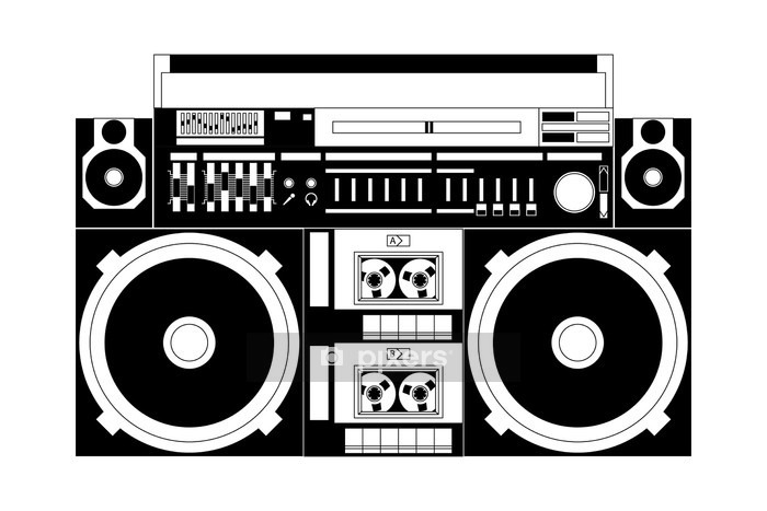 old school boombox Wall Decal - Wall decals