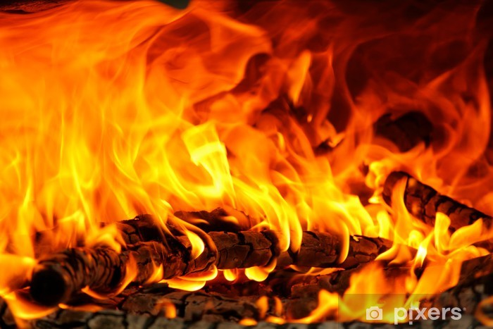 Fototapeta winylowa Płomienie w drewnianym piecu - Tekstury
