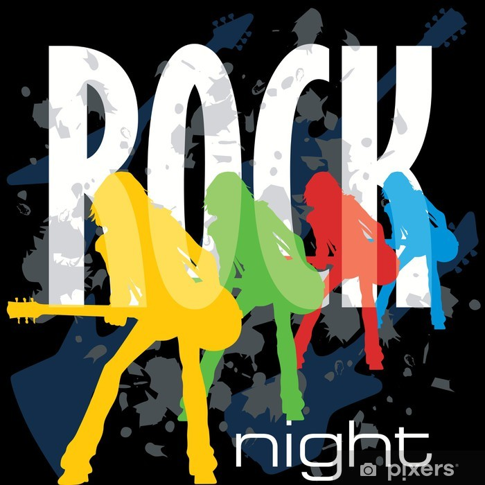 Sticker Pixerstick Affiche de nuit rock - Divertissements