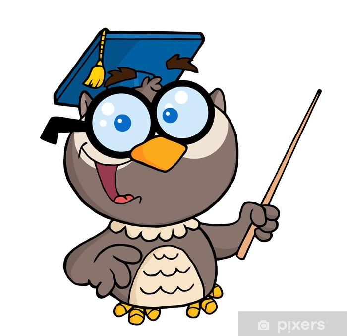 Fototapeta Sova Ucitel Kreslena Postavicka S Graduate Cap Ukazatel