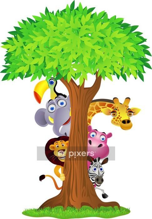 Duvar Çıkartması Ağacın arkasında Hayvan gizleme - Duvar Çıkartması