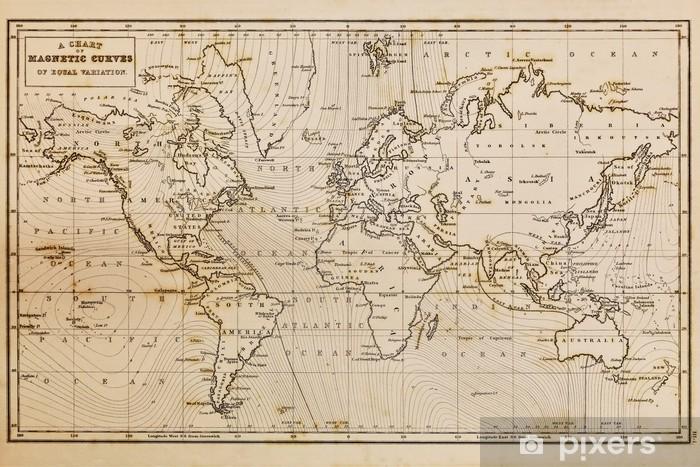 Fototapeta winylowa Wyciągnąć rękę rocznika stara mapa świata - Tematy