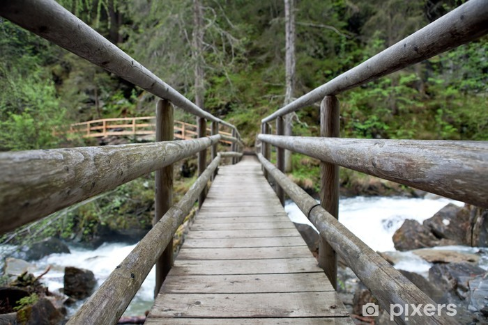 Vinyl-Fototapete Holzbrücke im Wald - Straßenverkehr