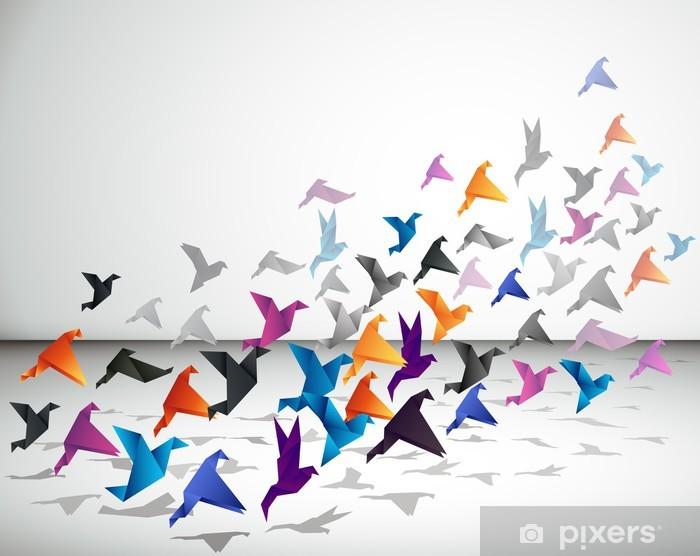 Fotomural Estándar Vuelo interior, Pájaros de Origami empezar a volar en el espacio cerrado. - Estilos