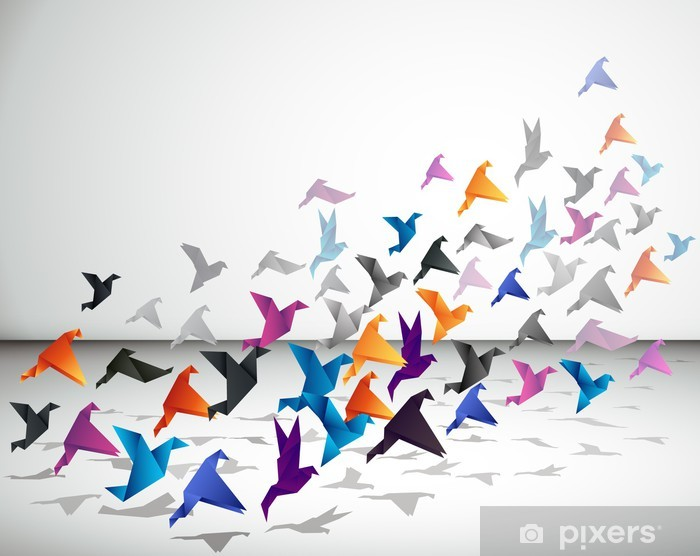 Vinilo Pixerstick Vuelo interior, Pájaros de Origami empezar a volar en el espacio cerrado. - Estilos