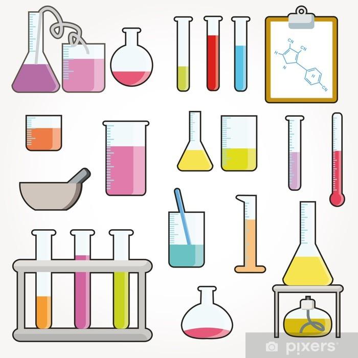 Aufkleber Chemische Reagenzgläser Icons Vector Pixerstick